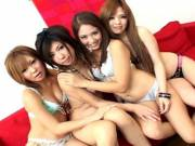 Wild group sex with two hot Japanese couples